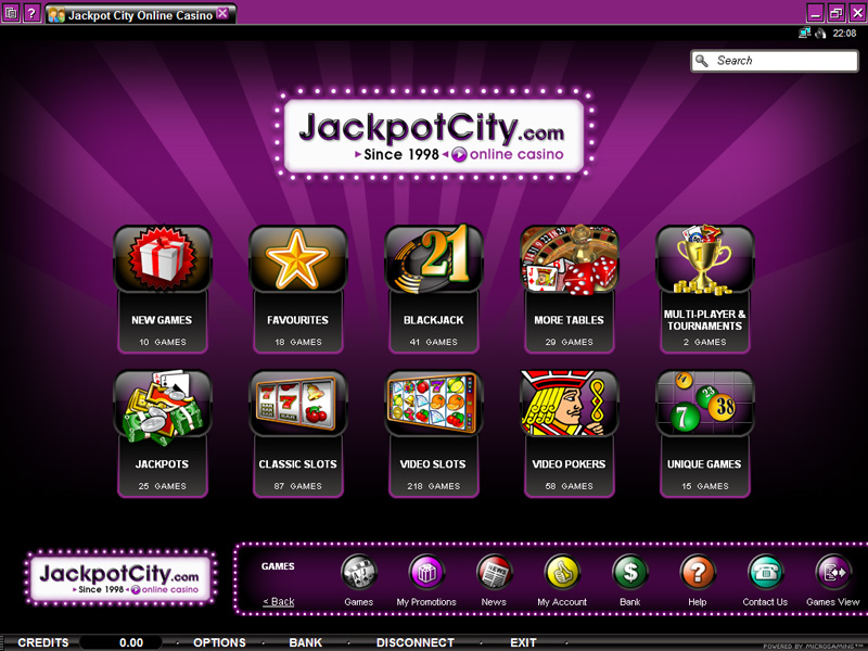 Jackpot City Lobby Screenshot